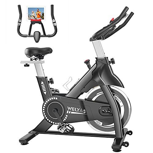 WELYAS Indoor Cycling Bike Stationary Exercise Bike, Home Cardio Workout Bike with Comfortable Seat Cushion, Silent Belt Drive, iPad Holder, LCD Monitor