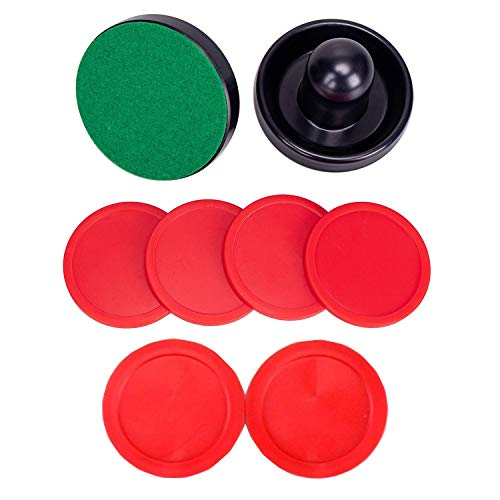 Phinacan 96MM Air Hockey Pusher Red Air Hockey Pucks Set Paddle Replacement Accessories for Full Size Air Hockey Tables (2 Pusher, 6 Pucks)