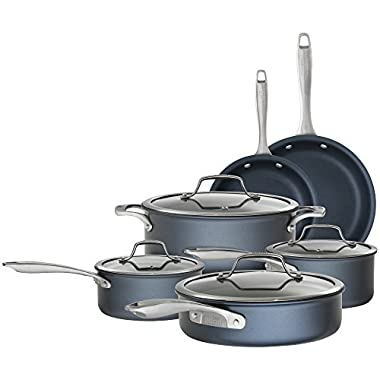 Bialetti 07466 Sapphire 10 Piece Nonstick Hard Anodized Cookware Set-Induction Compatible, Dishwasher Safe, Dark Blue
