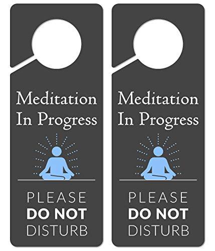 Meditation Sign for Door, 2 Pack (Printed on Both Sides), 9.3?x3.5? PVC Plastic, Meditation Sign, Meditation Door Hanger, Meditation Decor, Do Not Disturb Sign, Meditation Decor for Room