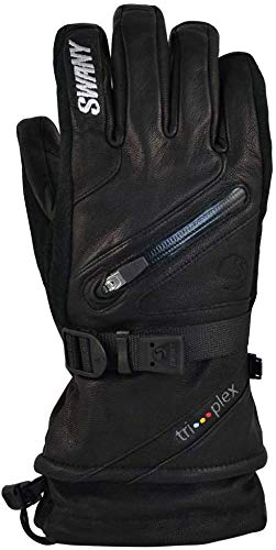 Swany X-Cell Damen Skihandschuhe, isoliert, warm, Leder, Schwarz, Größe L