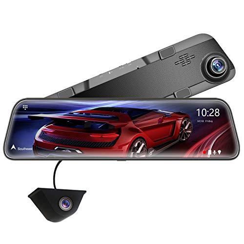 WOLFBOX 12 Pulgadas 2.5K G840H Espejo retrovisor para automóvil, 1440P Delantero y 1080P Trasero, Sensor Sony IMX415, función de visión Nocturna, Sistema de Asistencia de estacionamiento, GPS