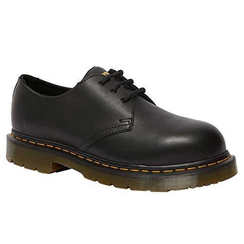 Dr. Martens, Unisex 1461 Slip Resistant Steel Toe Light Industry Shoes, Black Industrial Full Grain, 9 US Women/8 US Men