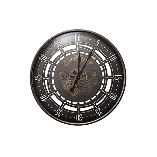 XBYUNDING Reloj de engranaje de estilo industrial Relojes de jardín al aire libre impermeable Retro Hierro forjado Reloj de hierro afuera Reloj de pared Interior Decoración al aire libre Metal se pued