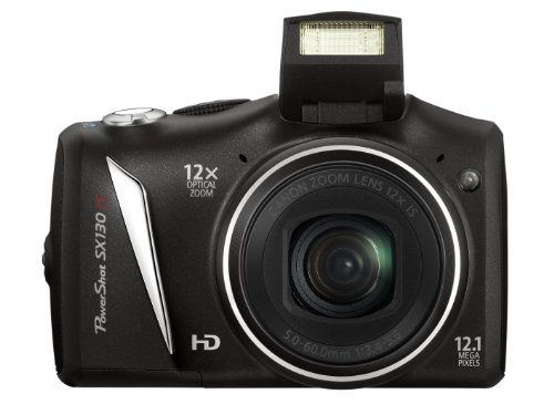 Canon PowerShot SX 130 IS Digitalkamera (12 MP, 12-fach opt. Zoom, 7,5cm (2,95 Zoll) Display, bildstabilisiert) schwarz