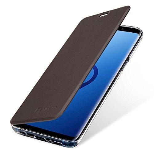 StilGut Berlin Book Type Hülle, Hülle aus Leder & transparentes TPU für Samsung Galaxy S9. Seitlich klappbares Flip-Hülle mit NFC/RFID Blocker. Braun/transparent