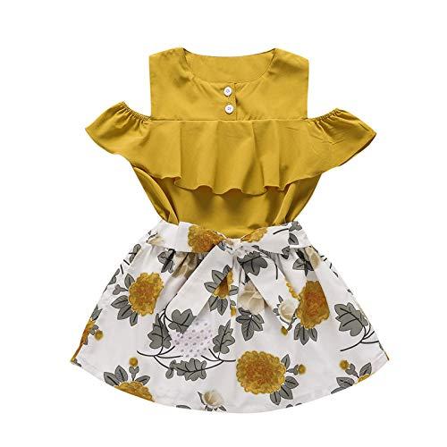 Kobay Mädchen Sommer Süßes Muster Kleinkind Kinder Baby Mädchen Blumen Rüschen Ärmellose Bowknot Kleid Outfits Sets
