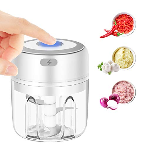 Emiral Mini Electric Garlic Chopper, Rechargeable& Portable Wireless Food Mincer Food Crusher Blender 250ml for Vegetables Garlic/Chili/Vegetables/Onions/Nuts/Pepper/Ginger