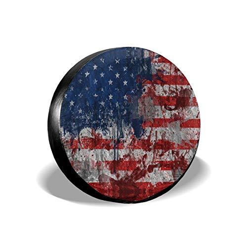 Hokdny Cubiertas de la Rueda de Respuesto, Funda para Neumáticos Cubierta para Rueda de Repuesto,Impermeable, para Remolques, Casas Rodantes, SUV y Otros, 15inch (Bandera Americana 18)