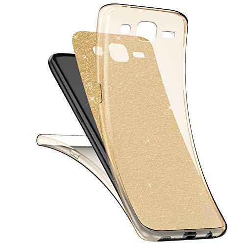 Surakey Cover Samsung Galaxy Core Prime G360 Integrale, Custodia Silicone Trasparente con Brillantini Glitter per Galaxy Core Prime G360 360 Gradi Protezione Totale Davanti e Dietro Cover, Oro
