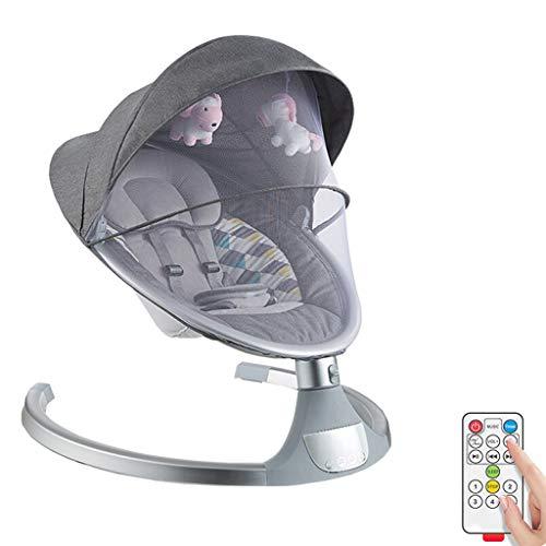 Xinjin Balancines eléctricos for bebés y gorilas con Control Remoto, Silla giratoria Comfort for bebés recién Nacidos con música Relajante y Juguetes con Dosel, Cama con Base automática