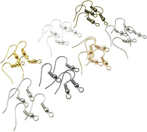 TOAOB 700 Stück 18x19 mm Metall Ohrring Haken Ohrhaken mit Kugel und Spule 7 Farben für DIY Ohrringe Schmuckherstellung