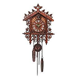 Galapara Cuckoo Clock Retro Vintage Handcrafted Wood Cookoo Clocks for Living Room Home Restaurant Cafe Hotel Decor Chic Swing Antique Coo Coo Clock - 2 Style
