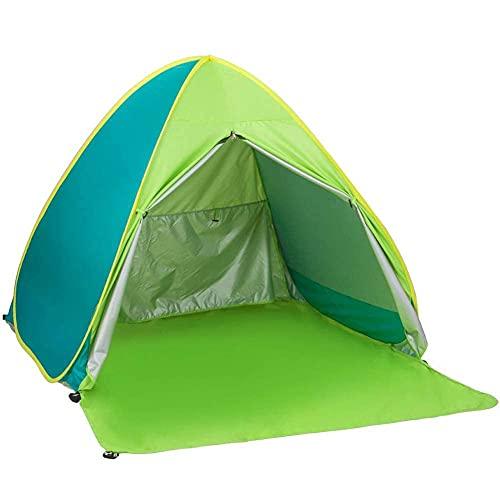 FJLOVE Pop Up Tienda de Playa Anti-UV Protección Solar UPF 50+ Canopy Cabana 3-4 Personas para Camping Familiar, Playa, Pesca, Picnic