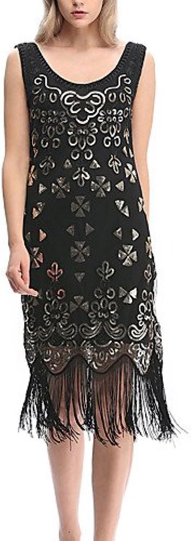Unbekannt ZLL Damen Hülle Flapper (20er) Kleid-Ausgehen Lässig Alltäglich Sexy Sexy Sexy Retro Jacquard Stickerei U-Ausschnitt Knielang Ärmellos NylonAlle, s B0739NG3NS  Charmantes Design d099cd