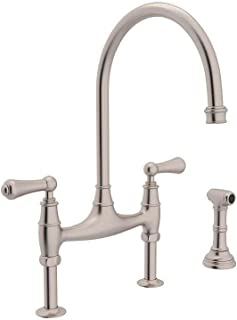 Rohl U.4719L-STN-2 Perrin and Rowe Deck Mount Bridge Kitchen Faucet with Sidespray with High C Spout and Metal ALSace Levers, Satin Nickel