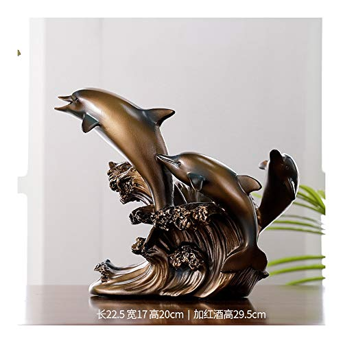 Nwn Estante del Vino Decoración Delfín Hogar Sala de Estar Creativa Vinoteca Ventana Porche Decoración Europea Resina Artesanía Decoración (Color : B)