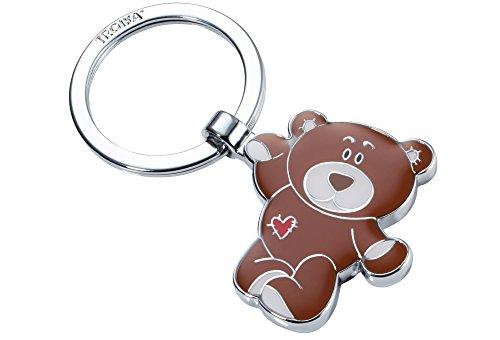 TROIKA Bruno – KR14-11/BR – Schlüsselanhänger – Bär, Teddy, Petz – Metallguss/Emaille– glänzend – verchromt – braun, Silber – TROIKA-Original