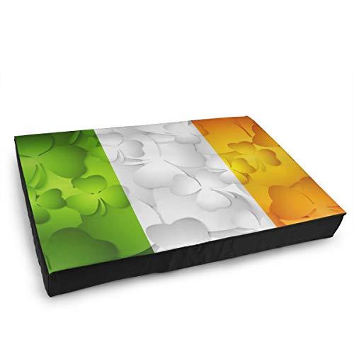 Jacklee Hond Kat Bed met Orthopedisch Schuim en Wasbaar Anti-slip Cover, Ierse Vlag