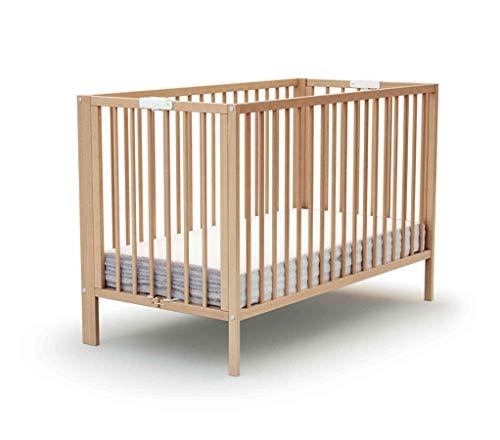 Lit bébé pliant à barreaux hêtre verni 60x120
