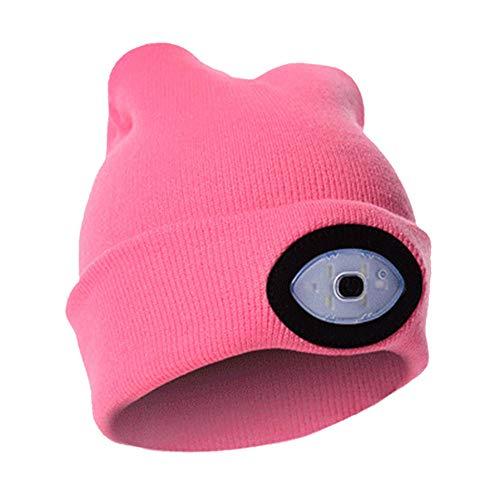 CICSI Gorras De Hombre Led Beanie Cap Faros Delanteros USB Recargable Sombrero Iluminado-F