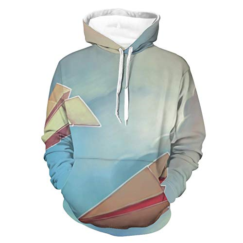 Unisex Realistic Print Hoodie Paper Airplanes Origami Pattern Pullover Hooded Sweatshirt Long Sleeve Skin-friendly Sweater with Pocket for Women Men