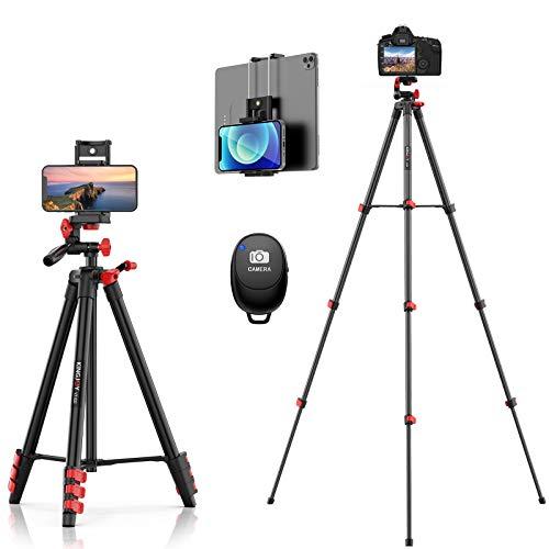 KINGJOY Trípode para teléfono móvil, 131 cm, aluminio, capacidad de carga de 3 kg, con clip 2 en 1 y mando a distancia Bluetooth para cámara y iPad