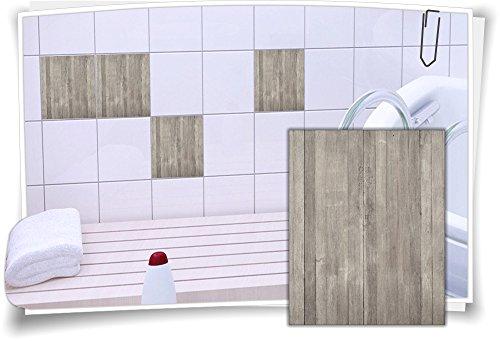 Medianlux Fliesenaufkleber Fliesen Aufkleber Holz Baum Kiefer Fichte Bad WC Küche Kachel Imitat Deko Holzimitat, 12 Stück, 20x25cm