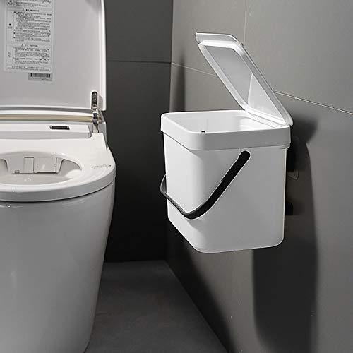weichuang Abfalleimer für die Küche, Wandmontage, Abfalleimer für Zuhause, Küchenschrank, Tür, zum Aufhängen, Abfalleimer (Farbe: Weiß, 3 l)