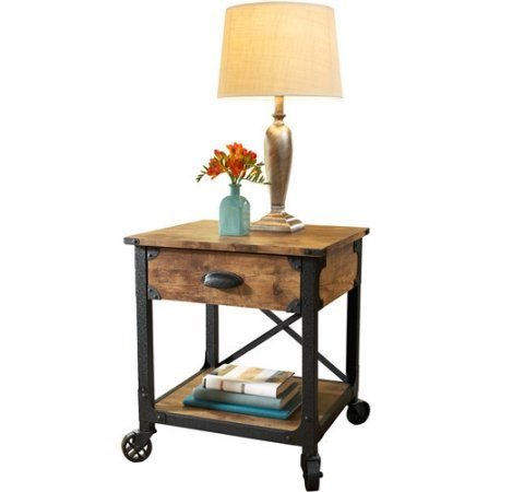 Better Homes and Gardens Rustic Country Side Table with Storage Drawer, Antiqued Black/Pine