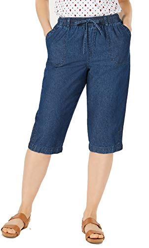 Karen Scott Womens Denim Capri Pants (Twilight Wash, Medium)