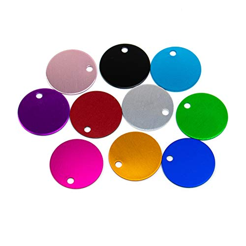 AUEAR, 10 Pack Colorful Round Pet ID Tag Blank for Dog Cat Double Sided 25mm for Pet Name Phone Number ID Tag Charm Personalized Jewely Making