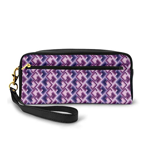 Pencil Case Pen Bag Pouch Stationary,Trippy Tiles with Digital Ombre Effects Poly Art Overlapping Squares,Small Makeup Bag Coin Purse