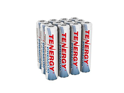 Tenergy Premium Rechargeable AAA Batteries, High Capacity 1000mAh NiMH AAA Batteries, AAA Cell Battery, 12-Pack