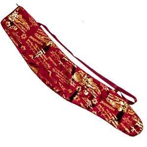 Velvet Shofar Bag for Yemenite Kudu Shofar, Burgundy with a Gold Foil Jerusalem Design, Long Strap, Zipper Closure Carrying Bag