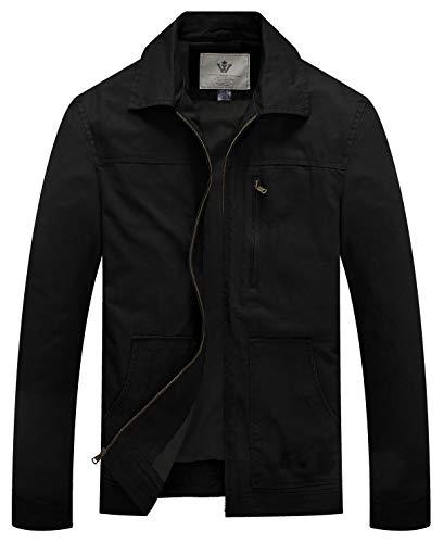 WenVen Giacca Classica Militare Leggera Giubbotto con Zip Autunnale a Vento Cappotto Casual Tempo Libero Giacchetto da Lavoro Uomo Nero L