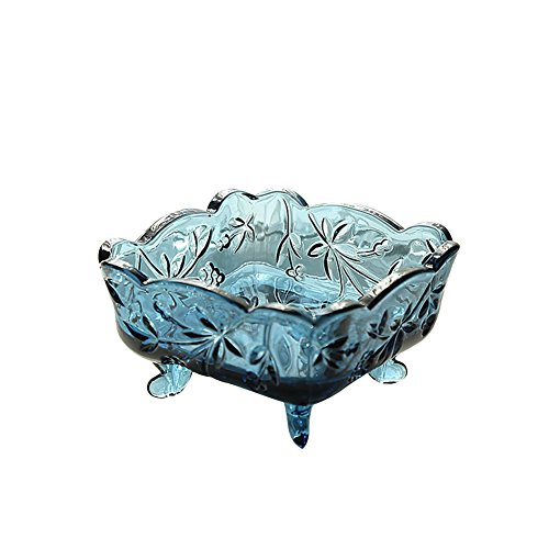 Fivtyily Retro Carved Square Glass Fruit/Sugar/Candy Dish Tray Ice Cream Bowl with Antislip Legs