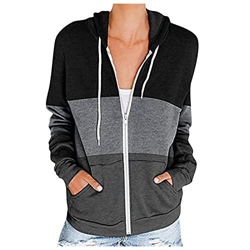 JenK Cing Damen Basic Kapuzenjacke, Damen Sweatjacke, Colour Block, Sweatshirt...