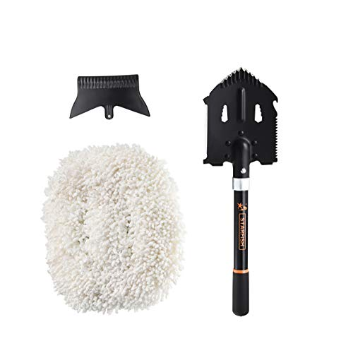 Tactical Camping Shovel, Car Duster, Ice Scraper, Multifunctional Portable Military Heavy-Duty Thicken Survival Shovel Spade, Detachable Snow Shovel Clean Tools, Entrenching Tool for, Camping, Hiking