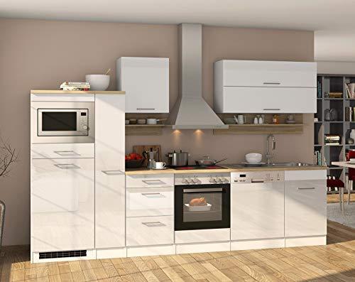 lifestyle4living Küche mit Elektrogeräten 310cm | Küchenzeile Küchenblock Einbauküche E-Geräte | Hochglanz Weiß/Eiche Sonoma