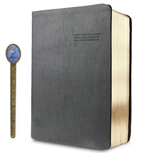 LY®, taccuino in pelle sintetica da 640 pagine e fogli formato A5, molto spesso, per uso quotidiano, studio, presa di appunti, come diario, per segnare ricordi Gold Edge, 640 Blank Pages, A5
