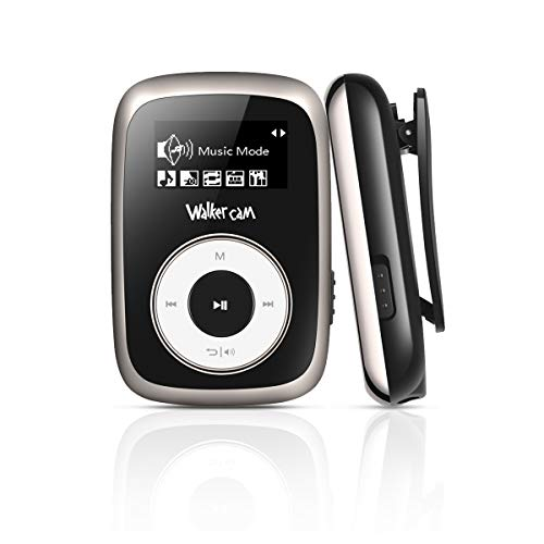 Walkercam M2 Clip Reproductor de MP3 con Radio FM, Reproductor de Música de 8GB para Correr, Negro