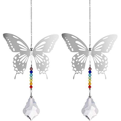 BESTZY Bola de Cristal Feng Shui 2 piezas Lámpara de Araña de Cristal Colgante prismas Techo...