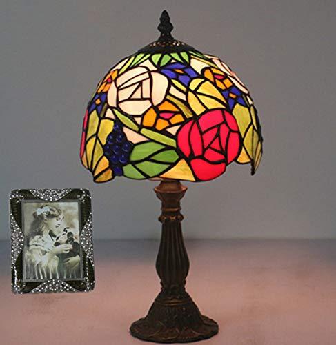 NANXCYR Lámparas de Mesa de Estilo Tiffany, 8 Pulgadas con vitral, Color Rosa, Pantalla, luz de Lectura, lámpara de Escritorio con Acento de cabecera, Rojo Azul Rosa, Base de aleación de Zinc Lotus