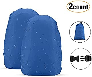 AGPTEK 2-Pack Nylon Waterproof Backpack Rain Cover for Hiking/Camping/Traveling/Outdoor Activities, Blue,Size M:30-40L