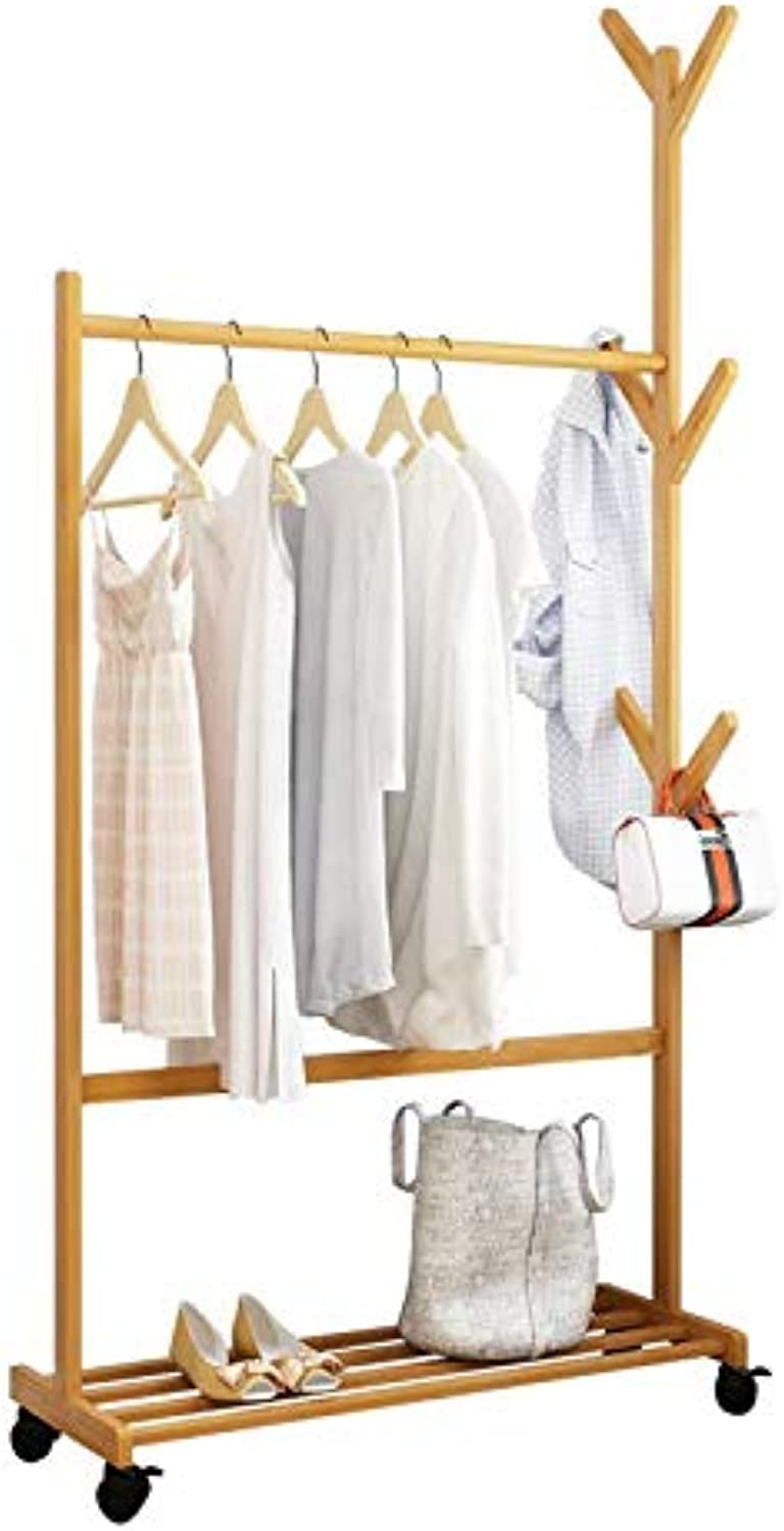 KTOL Modern Bamboo Coat Rack, Adjustable Free Standing Coat Tree Wheels shoes Storage 6 Hooks 64  H for Office Hall Scarf-Wood 70cm(28inch)
