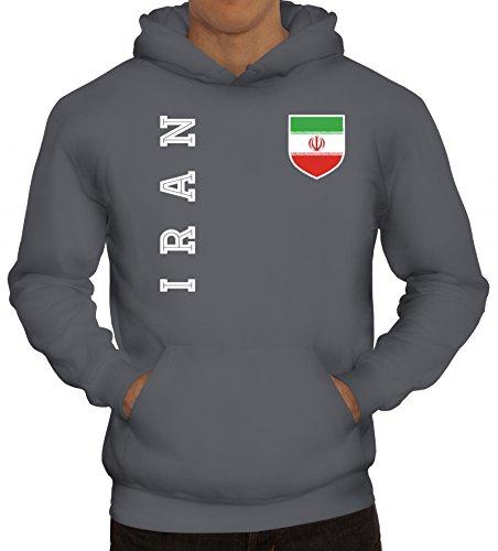Wappen Fußball WM Fanshirt Gruppen Herren Hoodie Männer Kapuzenpullover Fan Trikot Iran, Größe: M,Grau