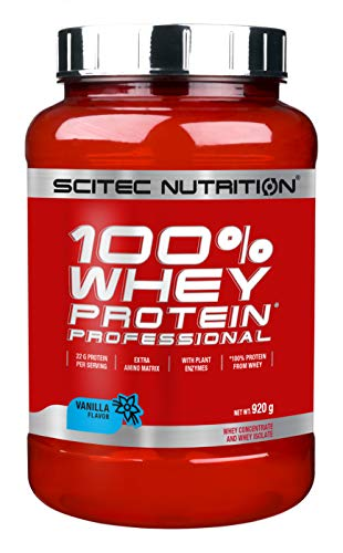 Scitec Nutrition Protein 100{530f09210420fc78b79dd82ccb9a4fc4be3ade7266b18f98f934016630f38c0b} Whey Protein Professional, Vanille, 920g