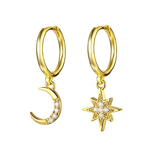 ACEHE Pendientes Femeninos, Pendientes con Forma de Media Luna y Estrella de Luna, Pendientes de Aros apilables Minimalistas para Mujer, Regalo de joyería para Fiesta Simple (Oro)