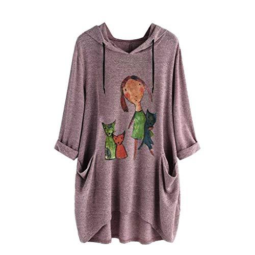 TOPKEAL Jacke Mantel Damen Frauen Casual Print Lange Ärmel Seite Tasche Kapuzen Unregelmäßige Top Bluse Shirts Herbst Winter Sweatshirt Kapuzenjacke Hoodie Pullover Coats (Pink A, XXXXL)